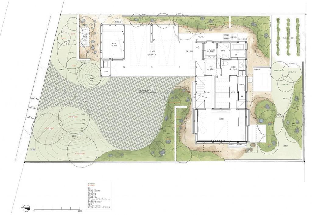 琵琶湖湖畔の家_配置図兼1階平面詳細図resize